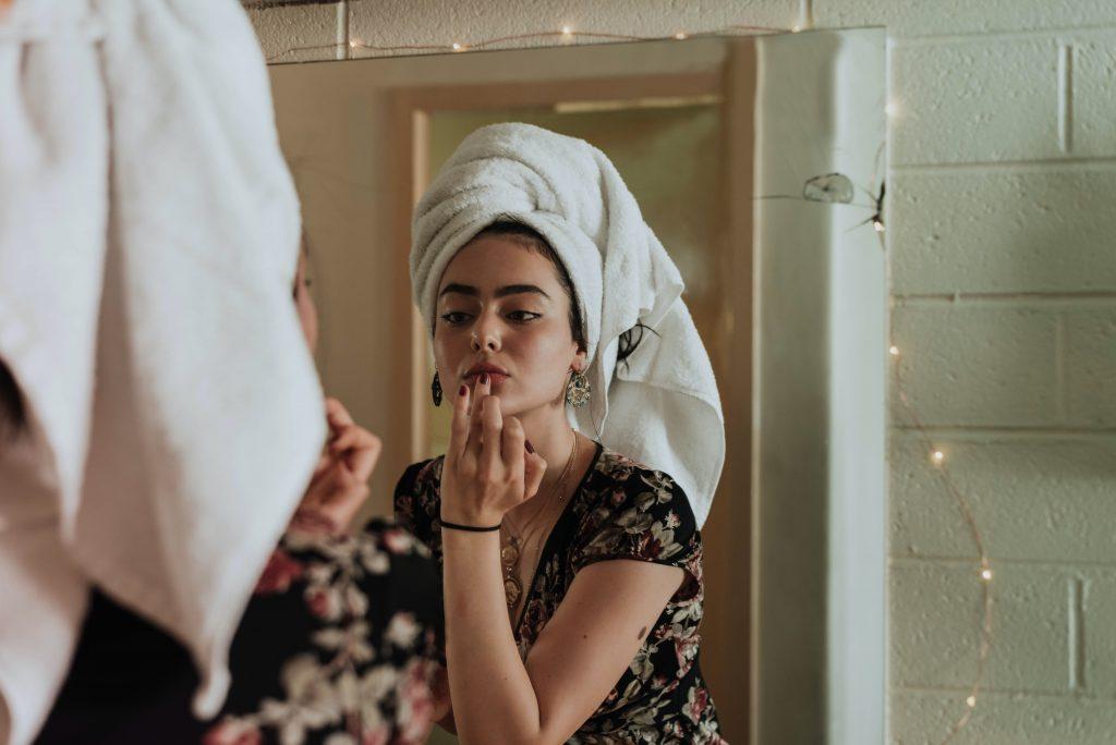 Vrouw mooie huid door collageen