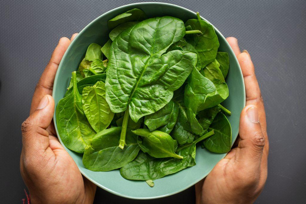 groene salade op plaat